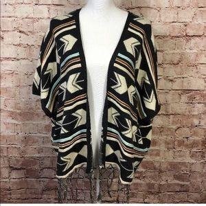 Oversized Sweater Short Sleeve Fringe Boho Aztec
